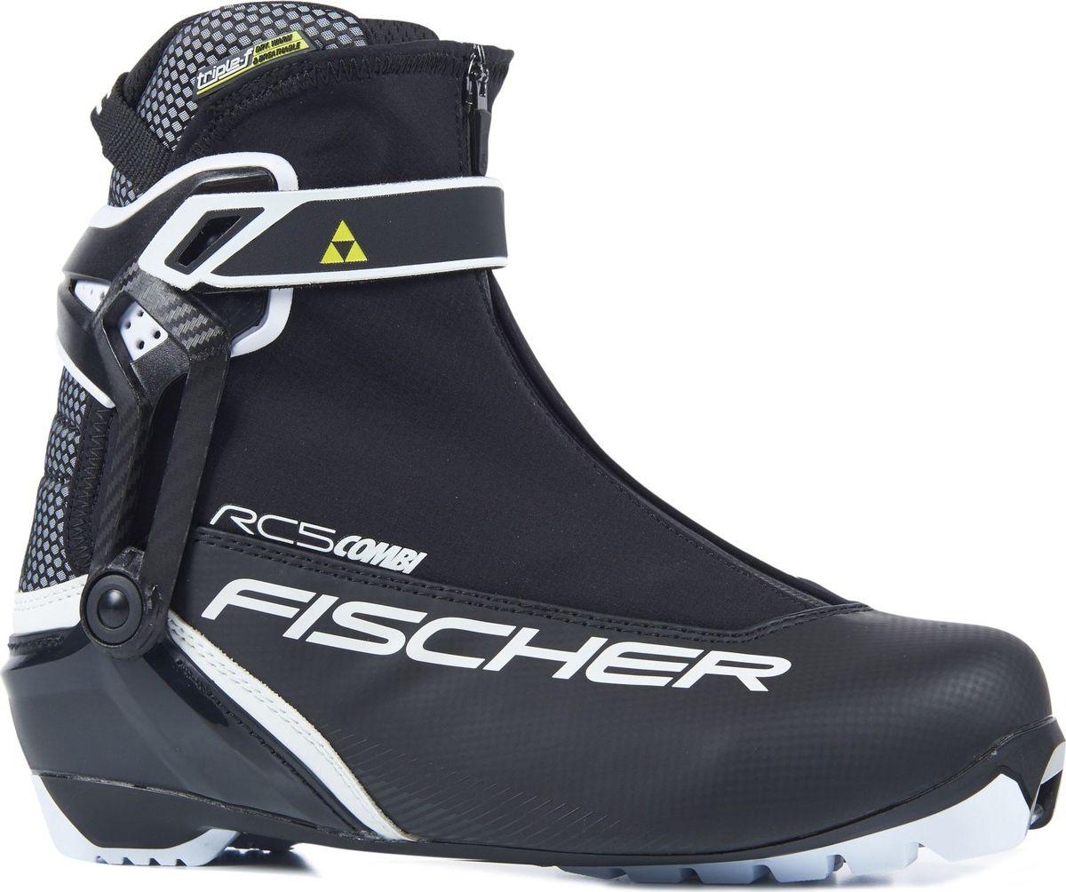 Ботинки лыжные мужские Fischer RC5 Combi, цвет: черный. S18517. Размер 45S18517Лыжные ботинки Fischer RC5 Combi - спортивная модель для амбициозных любителей. Новая гоночная подошва, облегченная конструкция и пластиковая манжета для лучшей поддержки голеностопа. Ботинки легко надеть благодаря широкому раскрытию. Дышащая мембрана Triple-F создает максимальный комфорт.Hinged Polymer Cuff.Эргономичная манжета обеспечивает боковую поддержку и дает свободу движений вперед и назад. Равномерное распределение давления благодаря манжете из материала EVA.Fischer Speed Lock.Система быстрой застежки для профессиональной экипировки. Надежное держание и простота использования.Thermo Fit.Термоформируемый материал внутреннего ботинка обладает прекрасными изоляционными свойствами и легко адаптируется по ноге.Easy Entry Loops.Широкое раскрытие ботинка и практичная петля на пятке облегчают надевание/снимание ботинок.Velcro Strap.Застежка на липучке, для быстрого регулирования и застегивания/расстегивания.Lace Cover.Дополнительная защита шнуровки, предотвращает проникновение влаги и холода.Comfort Guard.Очень легкий, водоотталкивающий изоляционный материал. Дополнительно защищает от холода мысок и переднюю часть стопы.