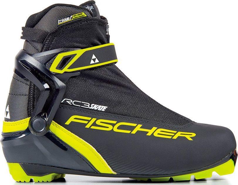 Ботинки лыжные мужские Fischer RC3 Skate, цвет: черный. S15617. Размер 48S15617Лыжные ботинки Fischer RC3 Skate для любителей спортивного катания. Удобная колодка и пластиковая манжета для лучшей поддержки голеностопа. Ботинки легко надеть благодаря широкому раскрытию. Дышащая мембрана Triple-F создает максимальный комфорт.Hinged Polymer Cuff.Эргономичная манжета обеспечивает боковую поддержку и дает свободу движений вперед и назад. Равномерное распределение давления благодаря манжете из материала EVA.Fischer Speed Lock.Система быстрой застежки для профессиональной экипировки. Надежное держание и простота использования.Thermo Fit.Термоформируемый материал внутреннего ботинка обладает прекрасными изоляционными свойствами и легко адаптируется по ноге.Easy Entry Loops.Широкое раскрытие ботинка и практичная петля на пятке облегчают надевание/снимание ботинок.Velcro Strap.Застежка на липучке, для быстрого регулирования и застегивания/расстегивания.Lace Cover.Дополнительная защита шнуровки, предотвращает проникновение влаги и холода.Triple F Membrane.Влагонепроницаемая мембрана, обладающая дышащими свойствами, позволяет ногам оставаться сухими в любую погоду.Comfort Guard.Очень легкий, водоотталкивающий изоляционный материал. Дополнительно защищает от холода мысок и переднюю часть стопы.