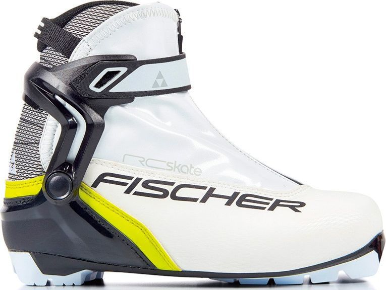 Ботинки лыжные женские Fischer RC Skate WS, цвет: белый. S16417. Размер 39S16417Лыжные ботинки Fischer RC Skate WS - коньковая модель для элегантных и спортивных лыжниц. Комфортная женская колодка, жесткая подошва и полимерная манжета обеспечивают отличную устойчивость и поддержку голеностопа. Дышащая мембрана Triple-F обеспечивает максимальный комфорт.Hinged Polymer Cuff.Эргономичная манжета обеспечивает боковую поддержку и дает свободу движений вперед и назад. Равномерное распределение давления благодаря манжете из материала EVA.Fischer Speed Lock.Система быстрой застежки для профессиональной экипировки. Надежное держание и простота использования.Thermo Fit.Термоформируемый материал внутреннего ботинка обладает прекрасными изоляционными свойствами и легко адаптируется по ноге.Easy Entry Loops.Широкое раскрытие ботинка и практичная петля на пятке облегчают надевание/снимание ботинок.Velcro Strap.Застежка на липучке, для быстрого регулирования и застегивания/расстегивания.Lace Cover.Дополнительная защита шнуровки, предотвращает проникновение влаги и холода.Triple F Membrane.Влагонепроницаемая мембрана, обладающая дышащими свойствами, позволяет ногам оставаться сухими в любую погоду.Comfort Guard.Очень легкий, водоотталкивающий изоляционный материал. Дополнительно защищает от холода мысок и переднюю часть стопы.