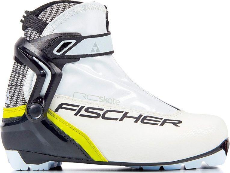 Ботинки лыжные женские Fischer RC Skate WS, цвет: белый. S16417. Размер 40S16417Лыжные ботинки Fischer RC Skate WS - коньковая модель для элегантных и спортивных лыжниц. Комфортная женская колодка, жесткая подошва и полимерная манжета обеспечивают отличную устойчивость и поддержку голеностопа. Дышащая мембрана Triple-F обеспечивает максимальный комфорт.Hinged Polymer Cuff.Эргономичная манжета обеспечивает боковую поддержку и дает свободу движений вперед и назад. Равномерное распределение давления благодаря манжете из материала EVA.Fischer Speed Lock.Система быстрой застежки для профессиональной экипировки. Надежное держание и простота использования.Thermo Fit.Термоформируемый материал внутреннего ботинка обладает прекрасными изоляционными свойствами и легко адаптируется по ноге.Easy Entry Loops.Широкое раскрытие ботинка и практичная петля на пятке облегчают надевание/снимание ботинок.Velcro Strap.Застежка на липучке, для быстрого регулирования и застегивания/расстегивания.Lace Cover.Дополнительная защита шнуровки, предотвращает проникновение влаги и холода.Triple F Membrane.Влагонепроницаемая мембрана, обладающая дышащими свойствами, позволяет ногам оставаться сухими в любую погоду.Comfort Guard.Очень легкий, водоотталкивающий изоляционный материал. Дополнительно защищает от холода мысок и переднюю часть стопы.