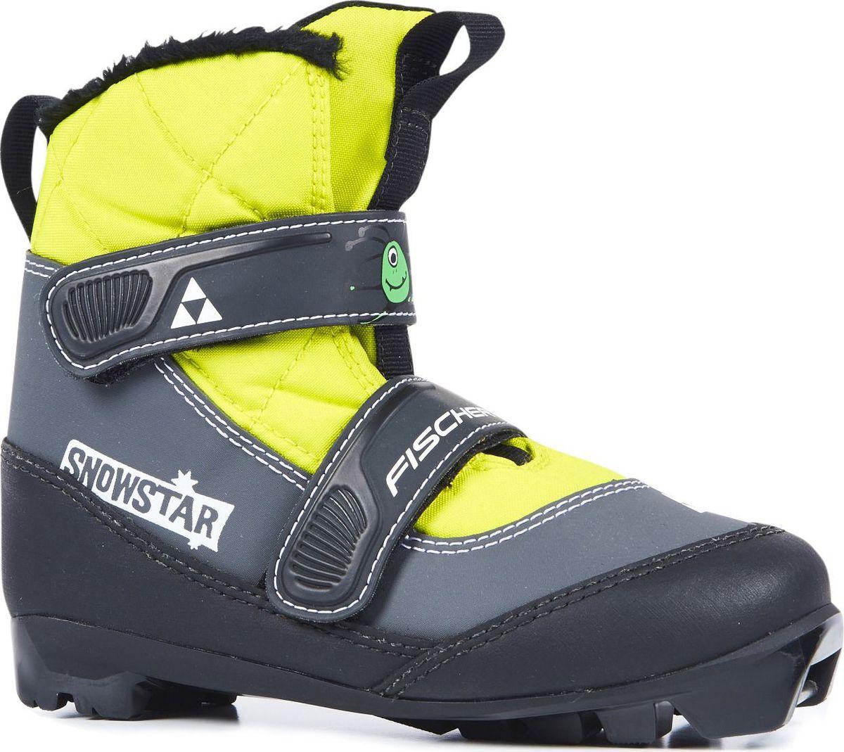 Ботинки лыжные для мальчика Fischer Snowstar, цвет: желтый. S41017. Размер 25S41017Лыжные ботинки Fischer Snowstar - модель для самых маленьких лыжников. Комфортная мягкая подошва, водоотталкивающий утеплитель Comfort Guard дополнительно защищает от холода и влаги, удобная застежка-липучка облегчает надевание. В ботинках удобно не только кататься, но и гулять, играть.Преимущества для потребителей:- Удобно надевать и снимать.- Очень теплые.- Подходят для катания и игр на снегу.