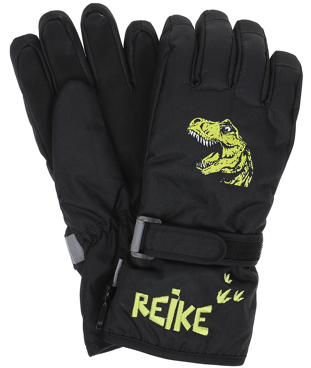Перчатки для мальчика Reike Динозавр, цвет: черный. RW18_DNS black. Размер 8RW18_DNS blackПерчатки для мальчика Reike Динозавр выполнены из ветрозащитной, водонепроницаемой и дышащей мембранной ткани, декорированной принтом в стиле коллекции. Мягкая подкладка из флиса обеспечивает дополнительный комфорт и тепло. Запястья оформлены резинкой и регулируемой липучкой, ладони и пальцы дополнительно усилены.