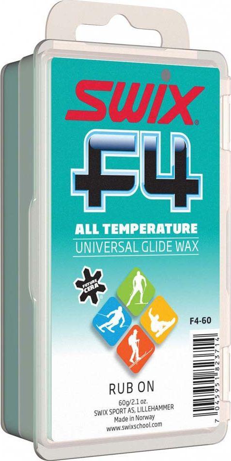Мазь скольжения Swix Универсальная. F4, твердая с пробкой, 60 гF4-60Высококачественная, универсальная мазь скольжения F4 для лыж и сноубордов.Для любого типа снега. Экономичный вариант для длительного использования. Пробковая накладка на упаковке. Не содержит растворителей. Карманный размер.Нанёс, растёр и вперёд!Упаковка 60 г. Фторсодержащая мазь скольжения