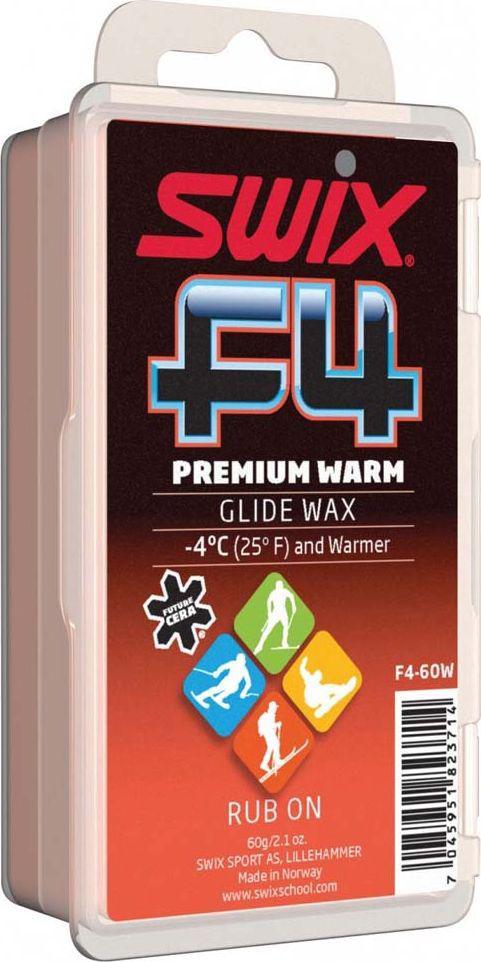 Мазь скольжения Swix Теплая. F4, твердая с пробкой, 60 гF4-60WМазь скольжения Swix Теплая. F4 - высококачественная мазь для быстрого нанесения на лыжи и сноуборды.Особенности: Экономичный вариант для длительного использования.Пробковая накладка на упаковке.Не содержит растворителей. Карманный размер.Диапазон использования F4 Premium Warm -4°C и теплее. Для любого типа снега.