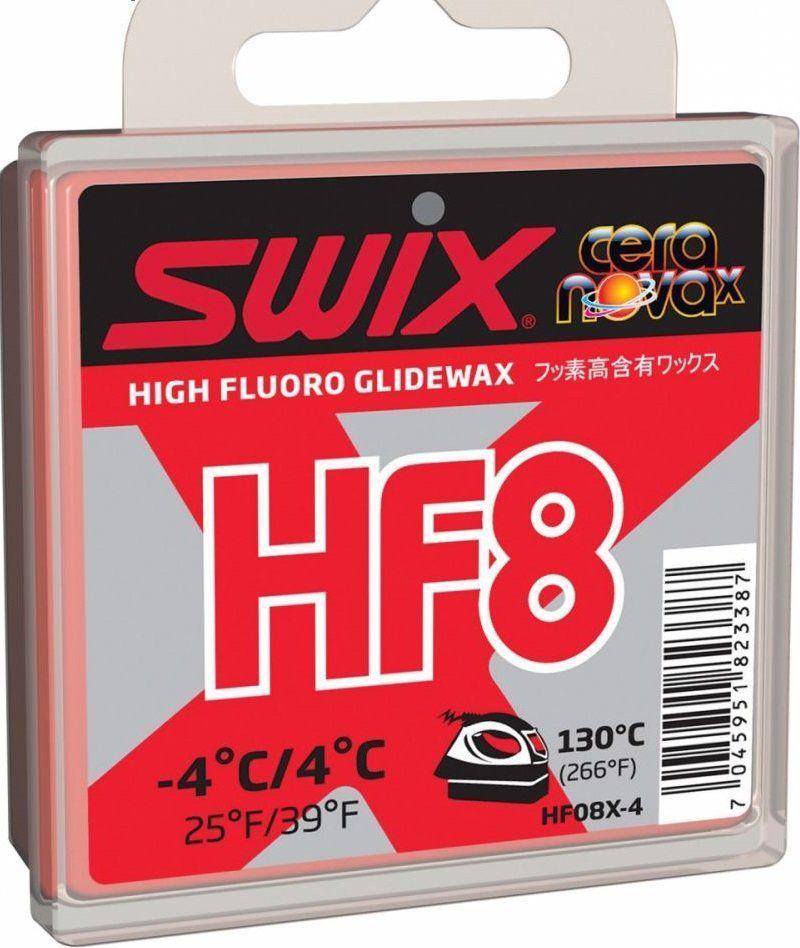 Мазь скольжения Swix HF8X Red, 40 гHF08X-4Фторосодержращаяя мазь скольжения Swix HF8X Red предназначена для смазывания беговых лыж во время свежевыпавшего, старого и искусственного снега. Хорошо работает при чистом снеге. Легко наносится.Мягкая концистенция HF8X и высокое сдержание фтора делают ее идеальной при использовании в условиях близких к точке замерзания. Может использоваться в качестве гоночной мази, но чаще всего - как базовый слой под порошок FC08X. Температурный диапазон от +4°C до -4°С. Рекомендуемая температура утюга 130°С.