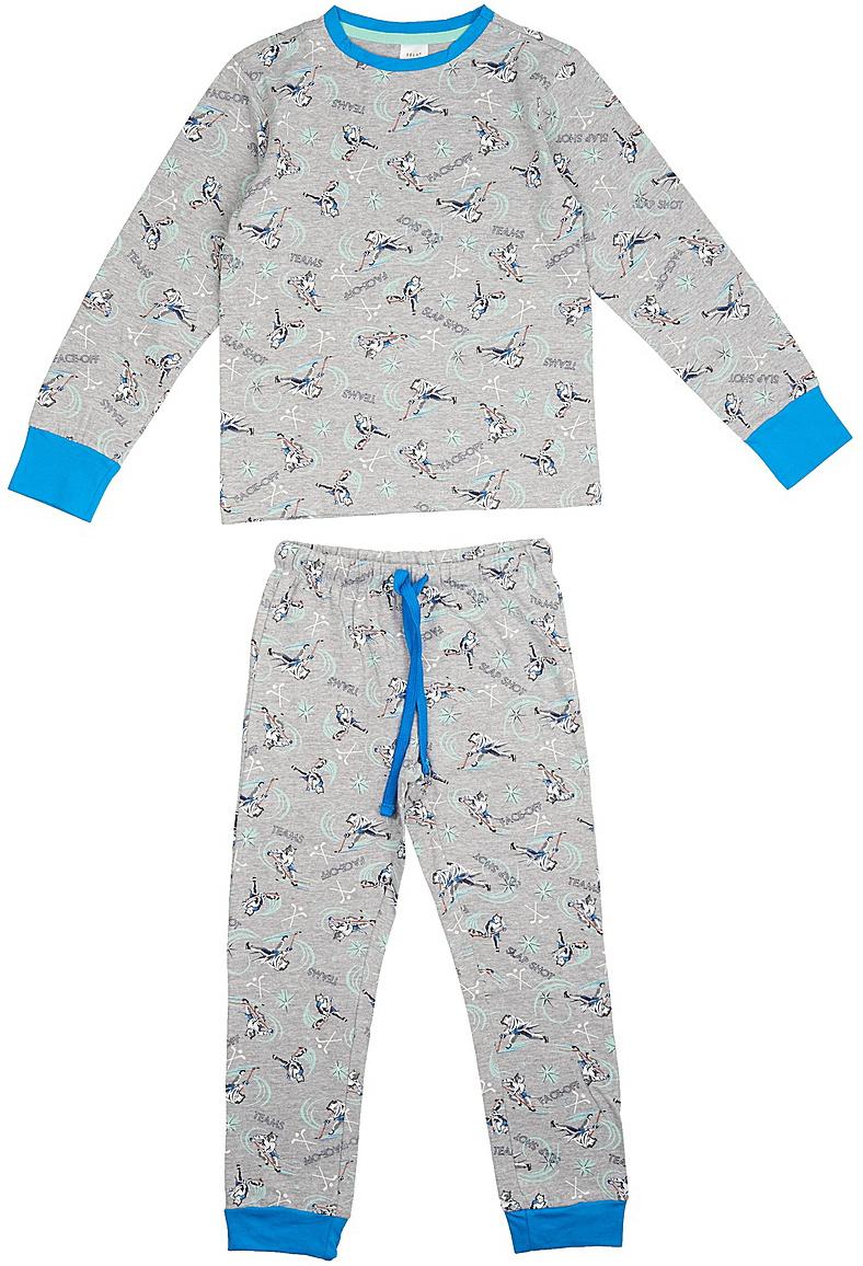 Пижама для мальчика Sela, цвет: серый. PYb-7862/020-7413. Размер 128/134, 8-10 летPYb-7862/020-7413Пижама для мальчика от Sela, состоящая из лонгслива и брюк, выполнена из натурального хлопка. Футболка с длинными рукавами и круглым вырезом горловины. Брюки на талии дополнены эластичной резинкой и затягивающимся шнурком. Рукава и брючины дополнены широкими трикотажными манжетами.