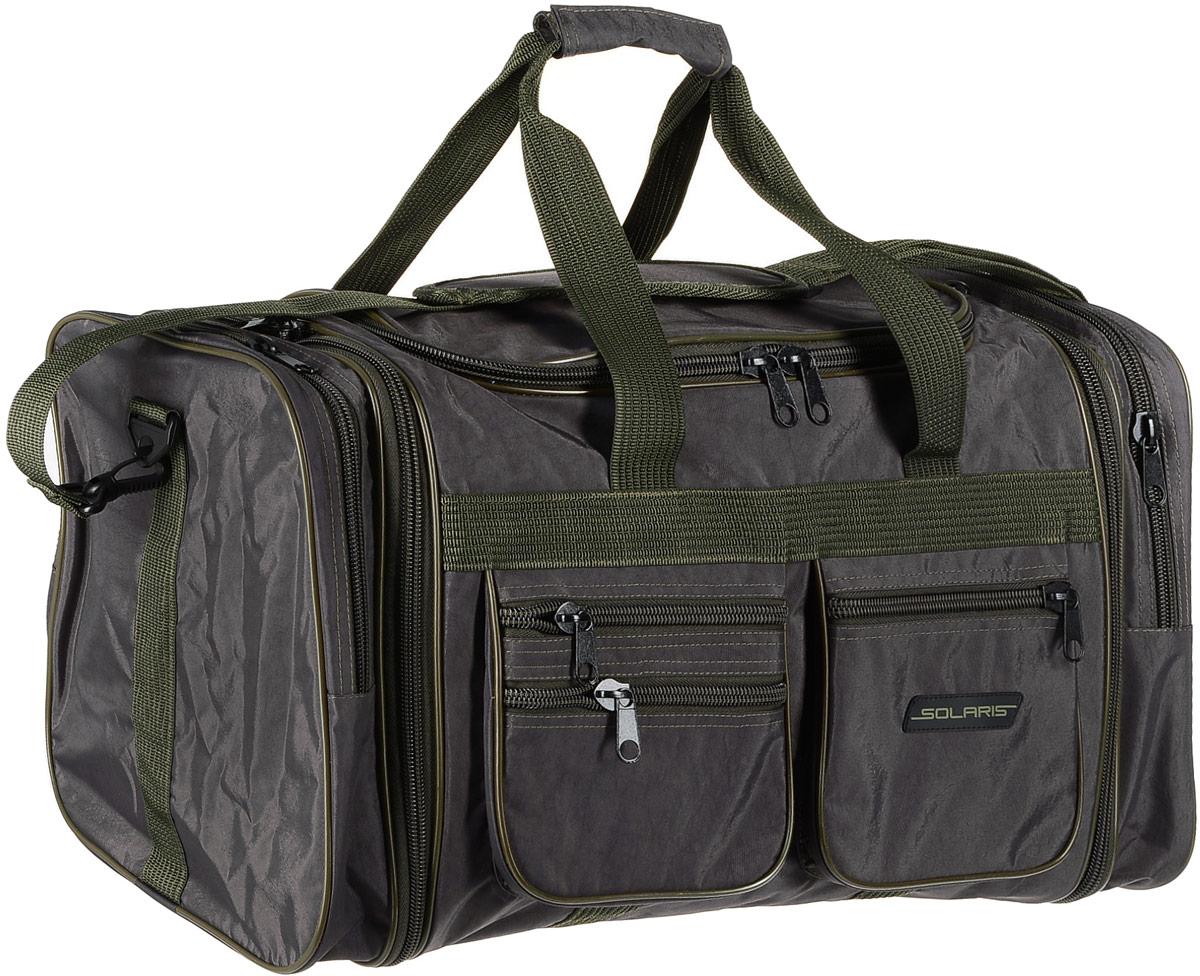 Сумка дорожная Solaris, с изменяемым объемом, 60-75 лS5118Большая дорожная сумка Solaris с изменяемым объемом идеально подойдет для поездок на охоту и рыбалку, пикников, длительных командировок, занятий спортом, автопутешествий, а также для проведения отпуска. Сумка выполнена из высококачественной армированной непромокаемой ткани Stone Washed (жатка), полиэстера и ПВХ.Сумка имеет 6 отделений: основное отделение с дополнительными секциями, два больших торцевых кармана, три накладных боковых кармана для мелких вещей.В торцах основного отделения есть дополнительные секции на молниях, которые позволяют увеличить объем сумки на 15 литров. При этом, если дополнительные секции не используются, сумка остается достаточно компактной.Общий объем сумки: 60-75 литров.Размеры: 59(73) х 32 х 32 см.