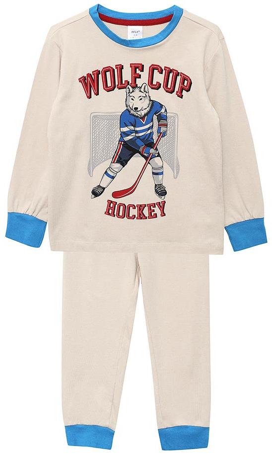 Пижама для мальчика Sela, цвет: бежевый. PYb-7862/021-7413. Размер 104/110, 4-6 летPYb-7862/021-7413