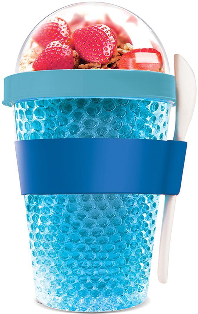Контейнер Asobu Chill yo 2 go, цвет: голубой, 380 млCY2GO blueЗаполните контейнер вашим любимым йогуртом! Поместите свой любимый топпинг в крышку! И возьмите с собой в дорогу! Контейнер Asobu Yo2go improved позаботится о вашем вкусном десерте! Yo2go - контейнер для йогурта контеи десертов. Контейнер имеет жесткий акриловый корпус с двойными стенками. Включает в себя белую ложку из пищевого безопасного пластика ABS, которая помещается в силиконовое кольцо и никогда не выскользнет. Для удобного удерживания контейнер обернут силиконовой лентой. Особенности: 360 мл.Ложка из пищевого безопасного пластика ABS.Простой и функциональный дизайн.Жесткий прозрачный акриловый корпус с двойными стенками.Крышка.Экологичный.Идеален для работы и школы.