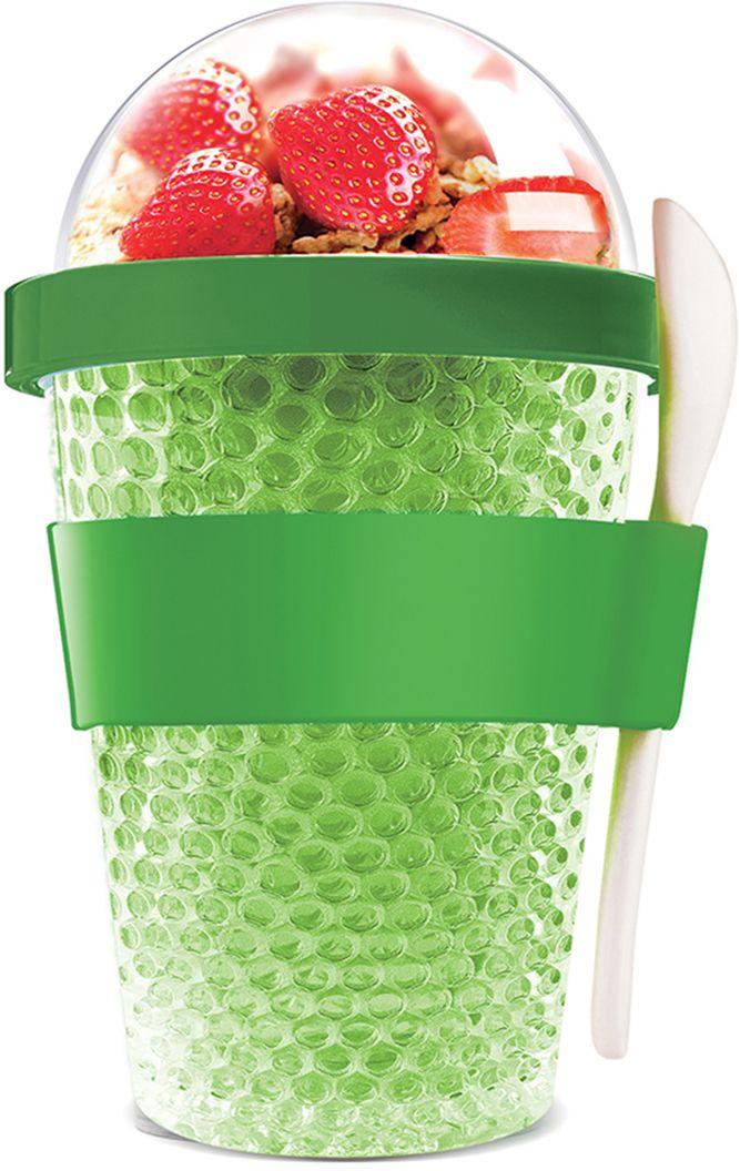Контейнер Asobu Chill yo 2 go, цвет: зеленый, 380 млCY2GO limeЗаполните контейнер вашим любимым йогуртом! Поместите свой любимый топпинг в крышку! И возьмите с собой в дорогу! Контейнер Asobu Yo2go improved позаботится о вашем вкусном десерте! Yo2go - контейнер для йогурта контеи десертов. Контейнер имеет жесткий акриловый корпус с двойными стенками. Включает в себя белую ложку из пищевого безопасного пластика ABS, которая помещается в силиконовое кольцо и никогда не выскользнет. Для удобного удерживания контейнер обернут силиконовой лентой. Особенности: 360 мл.Ложка из пищевого безопасного пластика ABS.Простой и функциональный дизайн.Жесткий прозрачный акриловый корпус с двойными стенками.Крышка.Экологичный.Идеален для работы и школы.
