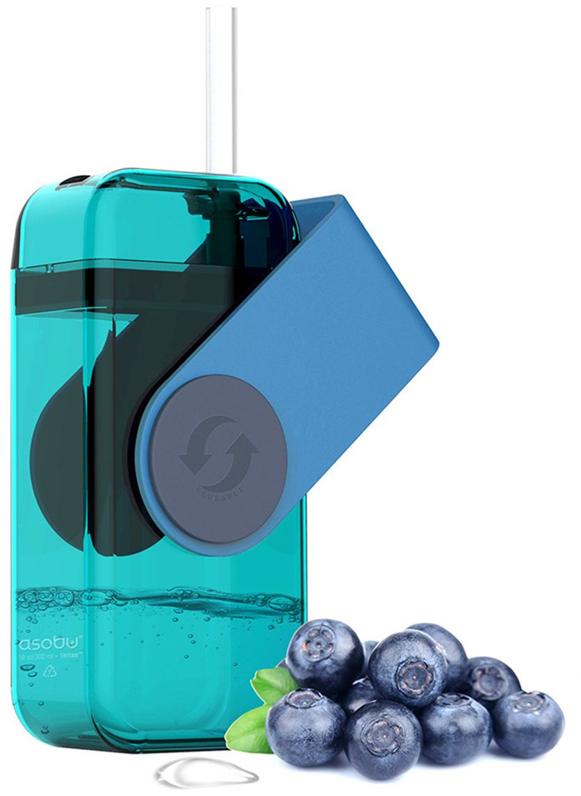 Бутылка Asobu Juicy drink box, цвет: голубой, 290 мл термоконтейнер для банок и бутылок asobu frosty to 2 go chiller цвет черный