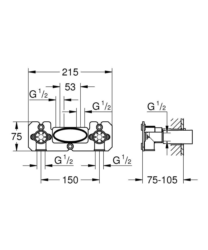 """Встраиваемый механизм для настенного монтажа с двумя отводами 1/2""""Глубина монтажа 75 - 105 ммСмывной клапан и материал для уплотнения к стене в комплекте.Шаблон для монтажа."""