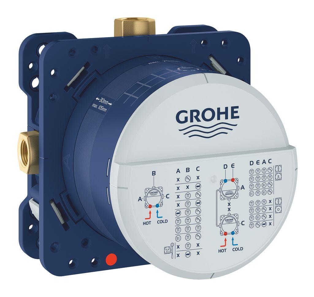 Универсальный встроенный механизм Grohe Rapido SmartBoxИС.240044Универсальный встроенный механизм Grohe Rapido SmartBox имеет прочный корпус и защитную накладку из латуни. Механизм включает в себя: 3 трубкообразных отвода2 подключения воды снизу предварительно смонтированная заглушка подготовленные точки крепления для сухого и мокрого монтажаОсобенности:Без комплекта верхней монтажной части.Инсталляционная глубина: 75-105 мм.
