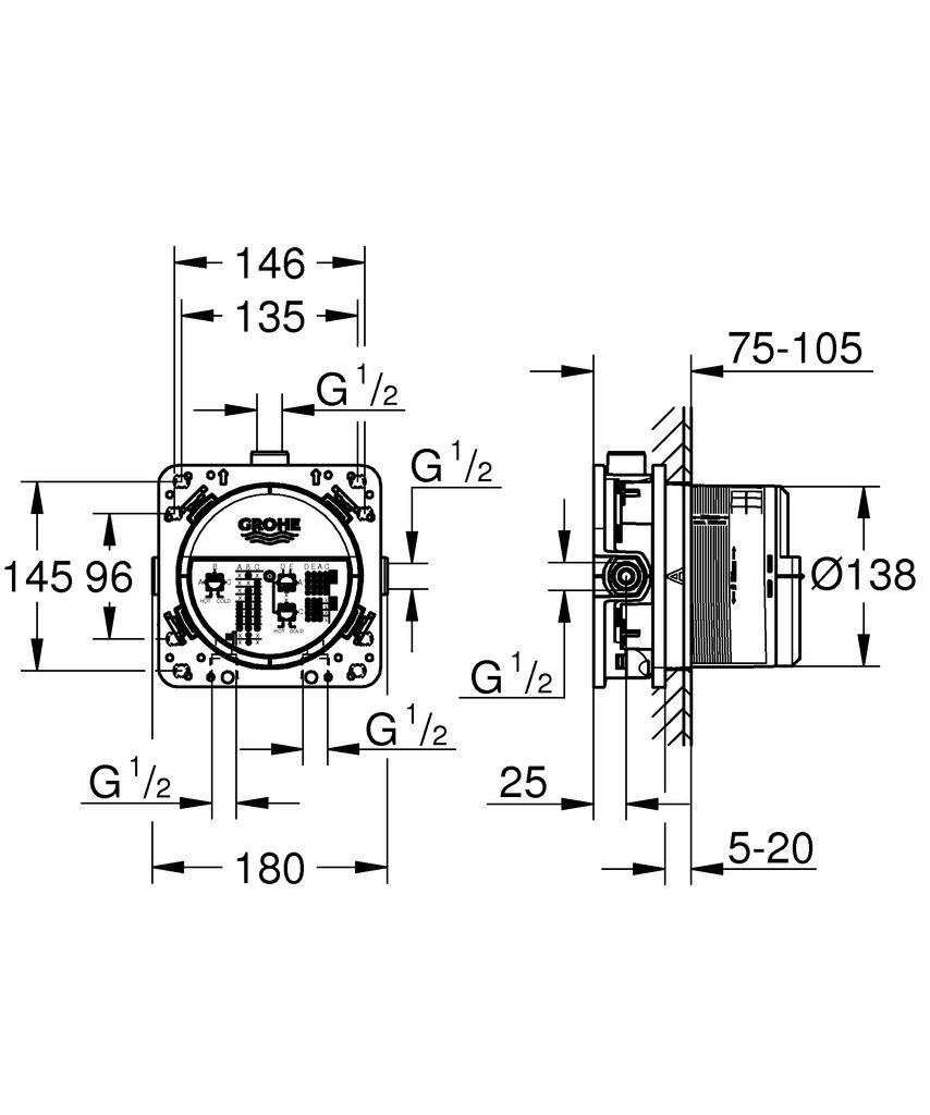 """Универсальный встроенный механизм Grohe """"Rapido SmartBox"""" имеет прочный корпус и защитную накладку из латуни. Механизм включает в себя:   3 трубкообразных отвода  2 подключения воды снизу предварительно смонтированная заглушка подготовленные точки крепления для сухого и мокрого монтажа  Особенности:  Без комплекта верхней монтажной части.  Инсталляционная глубина: 75-105 мм."""