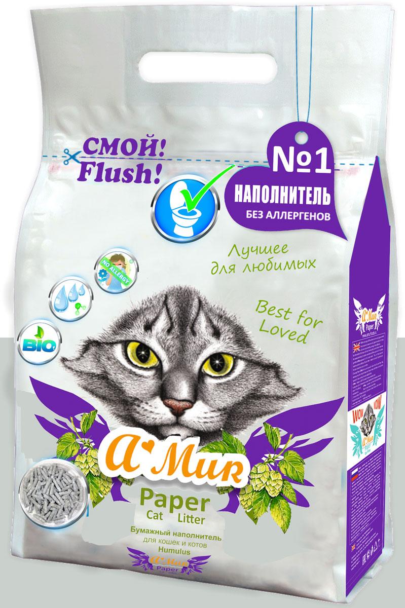 Наполнитель для кошачьего туалета AMUR Хмель, бумажный, 6 л50050ЭКО Наполнитель бумажный AMur Хмель для котят, для лотков и для кошачьих туалетов.