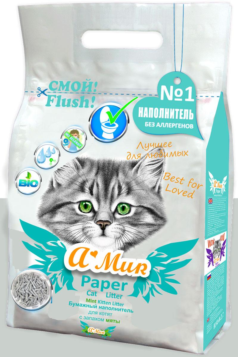 Наполнитель для кошачьего туалета AMUR Мята, бумажный, для котят, 6 л50296Бумажный эко-наполнитель AMur Мята предназначен для котят, лотков и кошачьих туалетов. В составе содержатся только природные компоненты, не имеющие химического запаха. Гранулы приятны на ощупь и имеют слабый запах мяты - из-за этого они очень понравятся вашему любимцу.Бумажный наполнитель AMur Мята полностью ликвидирует неприятные ароматы.