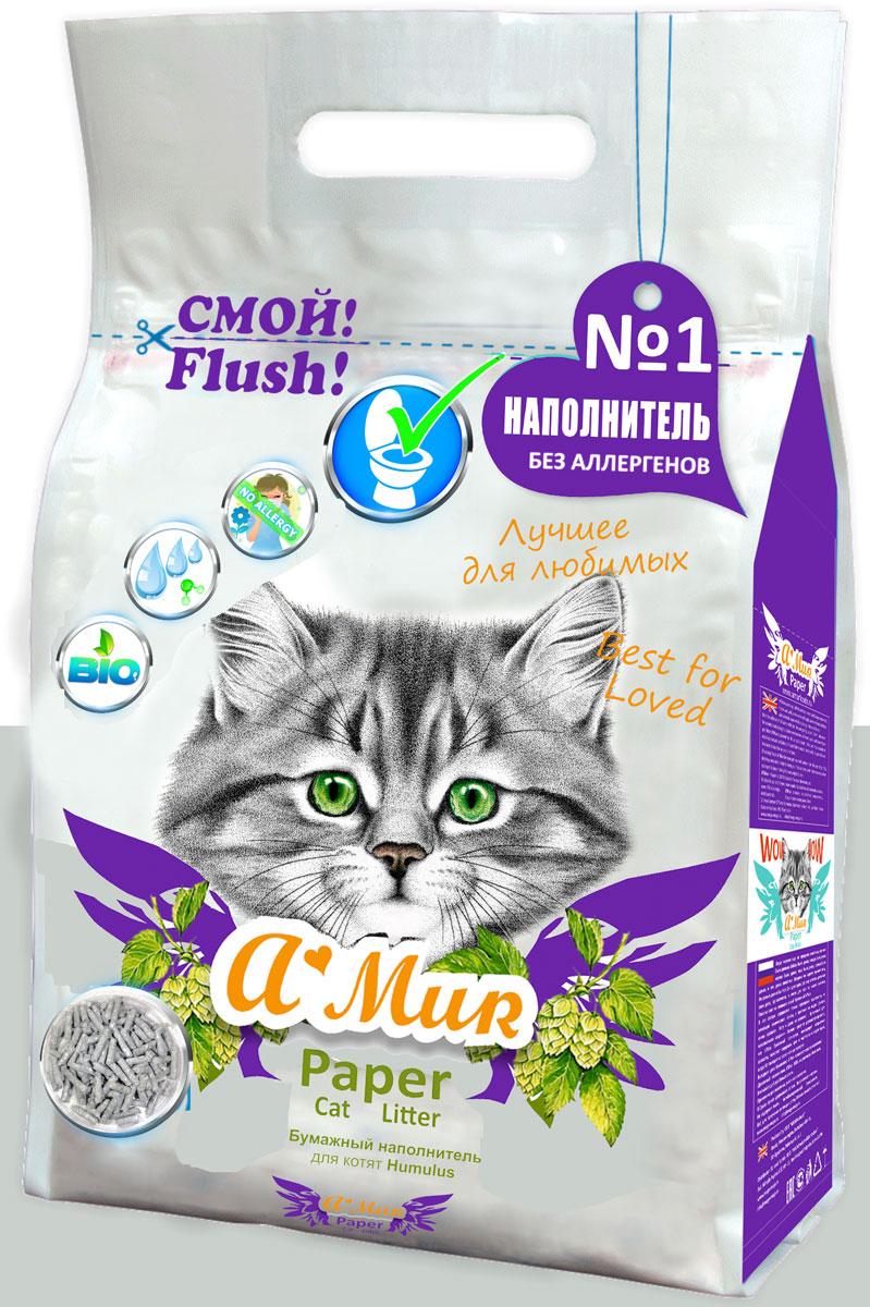 Наполнитель для кошачьего туалета AMUR Хмель, бумажный, для котят, 6 л50302ЭКО Наполнитель бумажный AMur Хмель для котят, для лотков и для кошачьих туалетов.