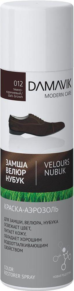 Краска-аэрозоль для обуви Damavik, для замши, велюра, нубука, цвет: темно-коричневый 250 мл9003-012Краска-аэрозоль для обуви Damavik закрашивает потертости и освежает цвет изделий. Питает кожу и сохраняет первоначальную структуру замши, нубука, велюра.Обладает водоотталкивающими свойствами.