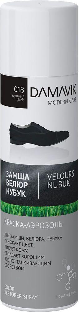 Краска-аэрозоль для обуви Damavik, для замши, велюра, нубука, цвет: черный, 250 мл9003-018Краска-аэрозоль для обуви Damavik закрашивает потертости и освежает цвет изделий. Питает кожу и сохраняет первоначальную структуру замши, нубука, велюра.Обладает водоотталкивающими свойствами.