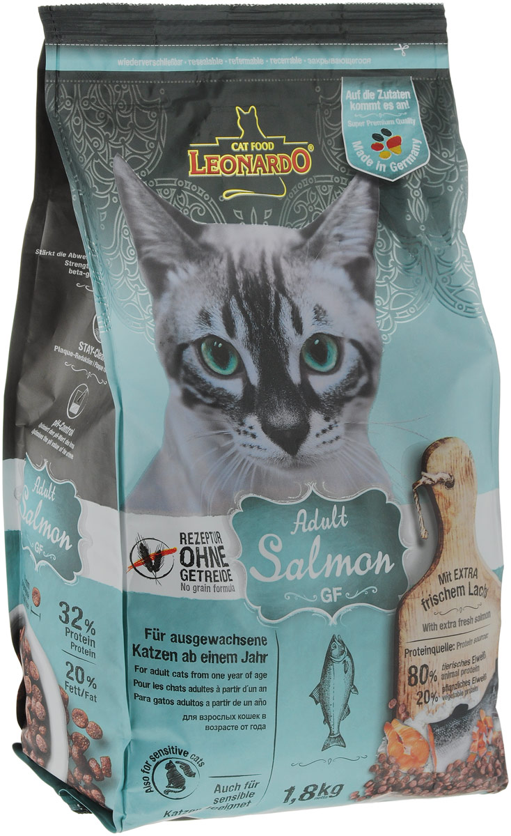Корм сухой Leonardo Adult Salmon GF, для взрослых кошек с чувствительностью к злакам, беззерновой, с лососем, 1,8 кг66857Корм сухой Leonardo Adult Salmon GF - является идеальным решением для кошек с пищевой непереносимостью, которые, как правило, страдают от аллергии. Корм не содержит глютен или крупу. Зерновые культуры в этом рецепте были заменены богатым питательными веществами амарантом, а в состав включен вкусный лосось для истинных любителей рыбы. Размер гранул 8-9 миллиметров.Особые ингредиенты:Амарант - питательная альтернатива злакам, без содержания глютена.Семена чии - поддерживают пищеварение при помощи природных слизистых веществ и содержат 20% жирных кислот Омега-3.С морским зоопланктоном (крилем) - обогащен важными компонентами, такими как жирные кислоты Омега-3, астаксантин и натуральные энзимы.Преимущества:- ProVital - улучшается иммунитет благодаря бета-гликанам в пивных дрожжах.- Удаление зубного налета с помощью добавки STAY-Clean.- PH контроль - оптимизирует PH мочи.Источники белка: 80% животный белок, 20% растительный белок.Товар сертифицирован.