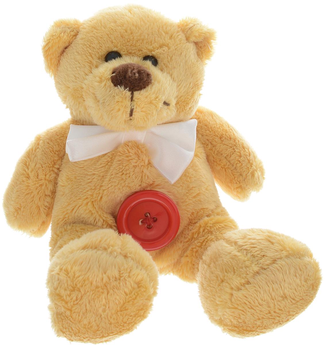 Magic Bear Toys Мягкая игрушка Мишка с пуговицей и белым бантом 14 см