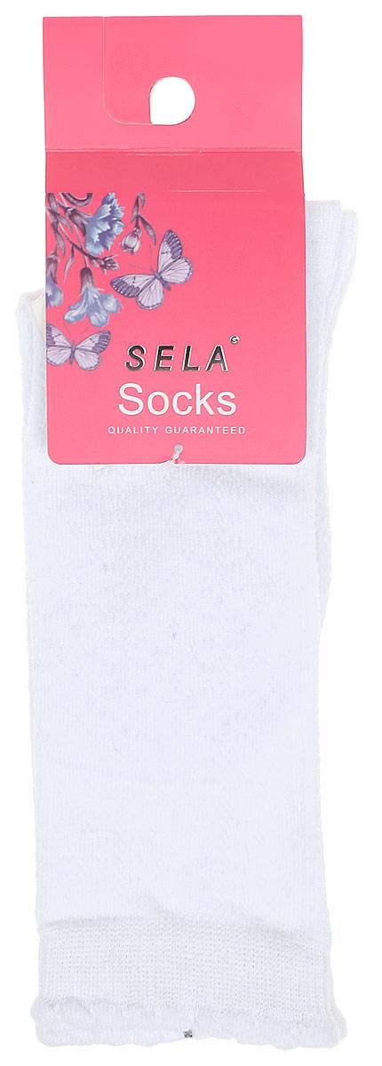 Гольфы для девочки Sela, цвет: белый. SOKL-4/189-7311. Размер 18/20SOKL-4/189-7311Детские гольфы Sela, изготовленные из высококачественного материала, идеально подойдут вашему ребенку. Благодаря содержанию мягкого хлопка и полиамида в составе кожа сможет дышать, а эластан делает гольфы более комфортными в носке. Эластичная резинка плотно облегает ножку ребенка, не сдавливая ее, обеспечивая комфорт и удобство.