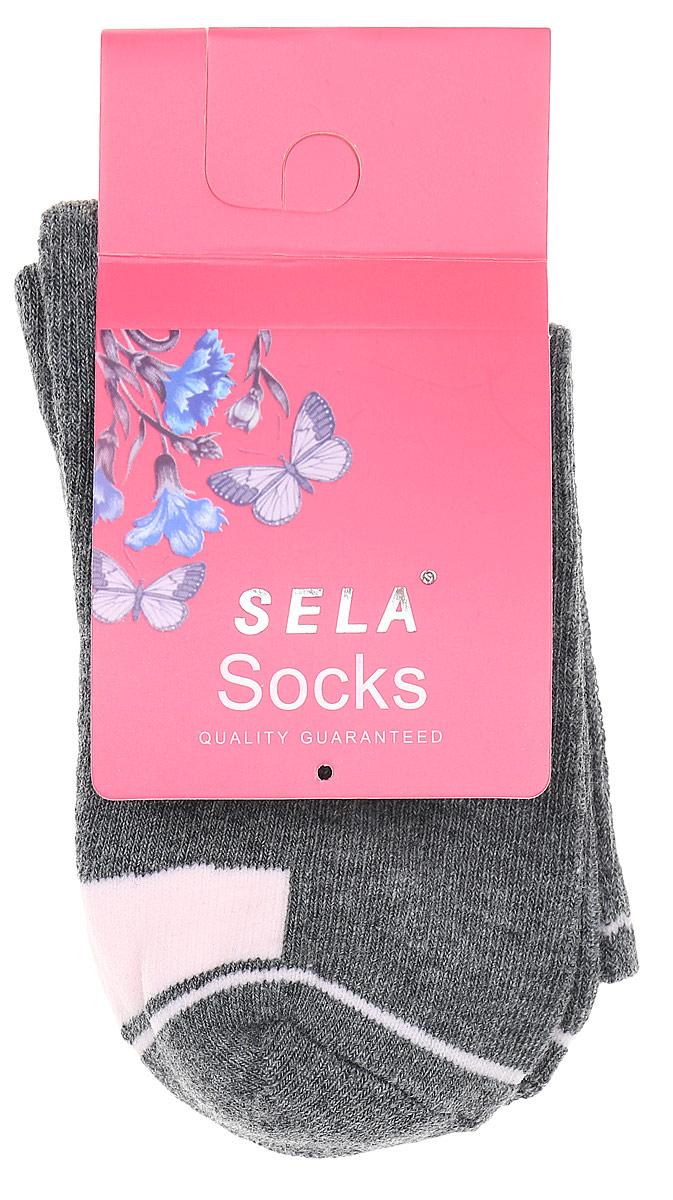 Носки для девочки Sela, цвет: темно-серый меланж. SOb-5654/186-7311. Размер 18/20
