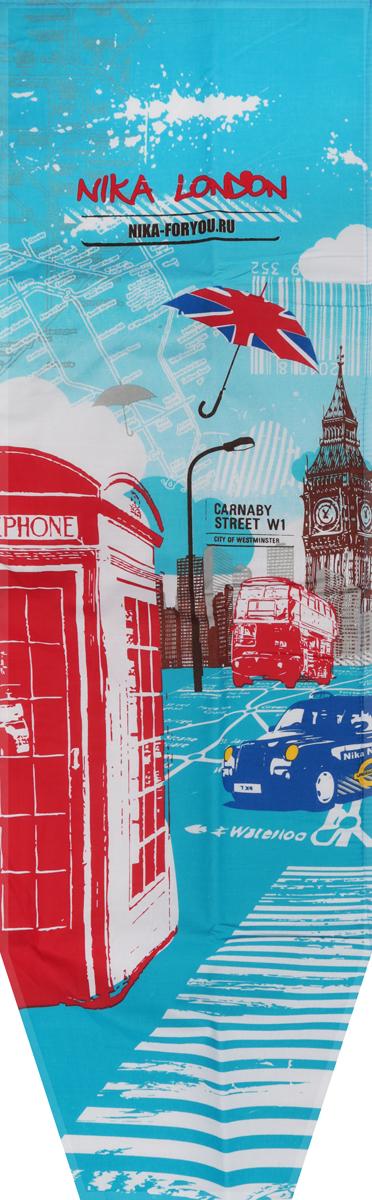 Чехол для гладильной доски Nika Лондон, универсальный, с поролоном, 129 х 40 смЧП1_лондон