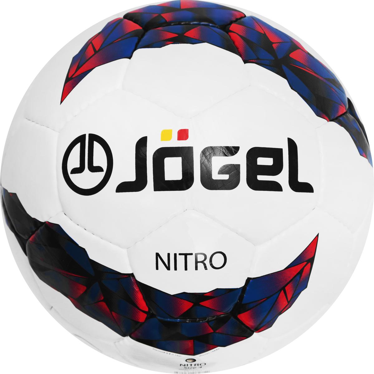 Мяч футбольный Jogel Nitro, цвет: белый, синий, красный. Размер 4. JS-700УТ-00009740Футбольный мяч Jogel Nitro превосходно подходит для тренировочного уровня. Он имеет прочную покрышку из синтетической кожи, сшитой вручную. Мяч имеет отличные технические характеристики, соответствующие требованиям тренировочного процесса. Размер мяча предназначается для тренировок детей в возрасте от 8 до 12 лет. Данный мяч рекомендован для тренировок и тренировочных игр клубных и любительских команд. Поверхность мяча выполнена из глянцевой синтетической кожи (полиуретан) толщиной 1,2 мм. Мяч имеет 4 подкладочных слоя на нетканой основе (смесь хлопка с полиэстером) и оснащен латексной камерой с бутиловым ниппелем, обеспечивающим долгое сохранение воздуха в камере. Мяч Jogel Nitro станет отличным выбором для тренировок и проведения любительских матчей.Вес: 350-390 гр.Длина окружности: 63,5-66 см.Рекомендованное давление: 0.6-0.8 бар.УВАЖАЕМЫЕ КЛИЕНТЫ!Обращаем ваше внимание на тот факт, что мяч поставляется в сдутом виде. Насос в комплект не входит.