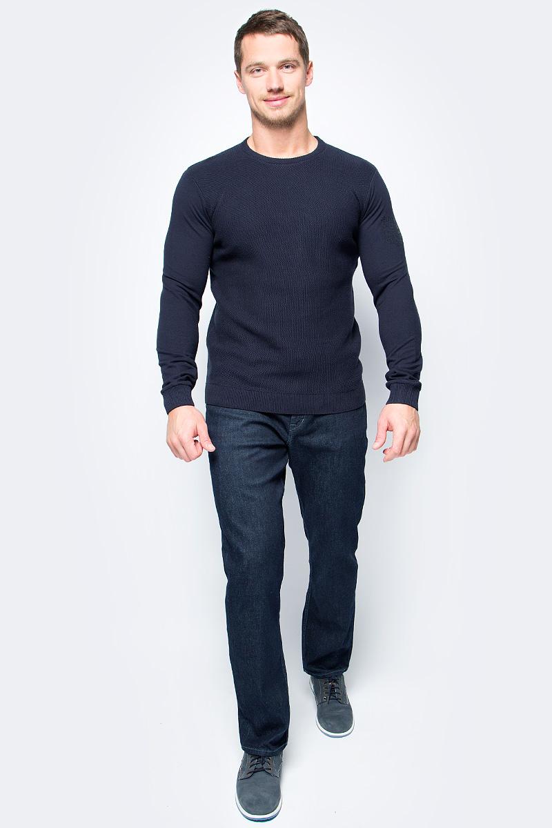Джемпер мужской Tom Tailor, цвет: синий. 3022896.00.10_6800. Размер L (50)3022896.00.10_6800Джемпер мужской Tom Tailor выполнен из натурального хлопка. Модель с круглым вырезом горловины и длинными рукавами.