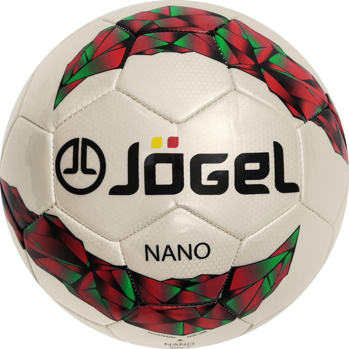 Мяч футбольный Jogel Nano, цвет: белый, красный, зеленый. Размер 5. JS-200УТ-00009334Популярный футбольный мяч Jogel JS-200 Nano неприхотлив к игровым поверхностям. Мяч предназначен для любительских игр и тренировок любительских команд.Поверхность мяча выполнена из синтетической кожи (поливинилхлорид) толщиной 2,7 мм. Мяч имеет 2 подкладочных слоя и оснащен бутиловой камерой, обеспечивающим долгое сохранение воздуха в камере. По своим характеристикам подходит как детям, так и взрослым. Мяч не рекомендован для игры при низких температурах (ниже +5°С).Вес: 410-450 гр.Длина окружности: 68-70 см.Рекомендованное давление: 0.4-0.6 бар.УВАЖАЕМЫЕ КЛИЕНТЫ!Обращаем ваше внимание на тот факт, что мяч поставляется в сдутом виде. Насос в комплект не входит.