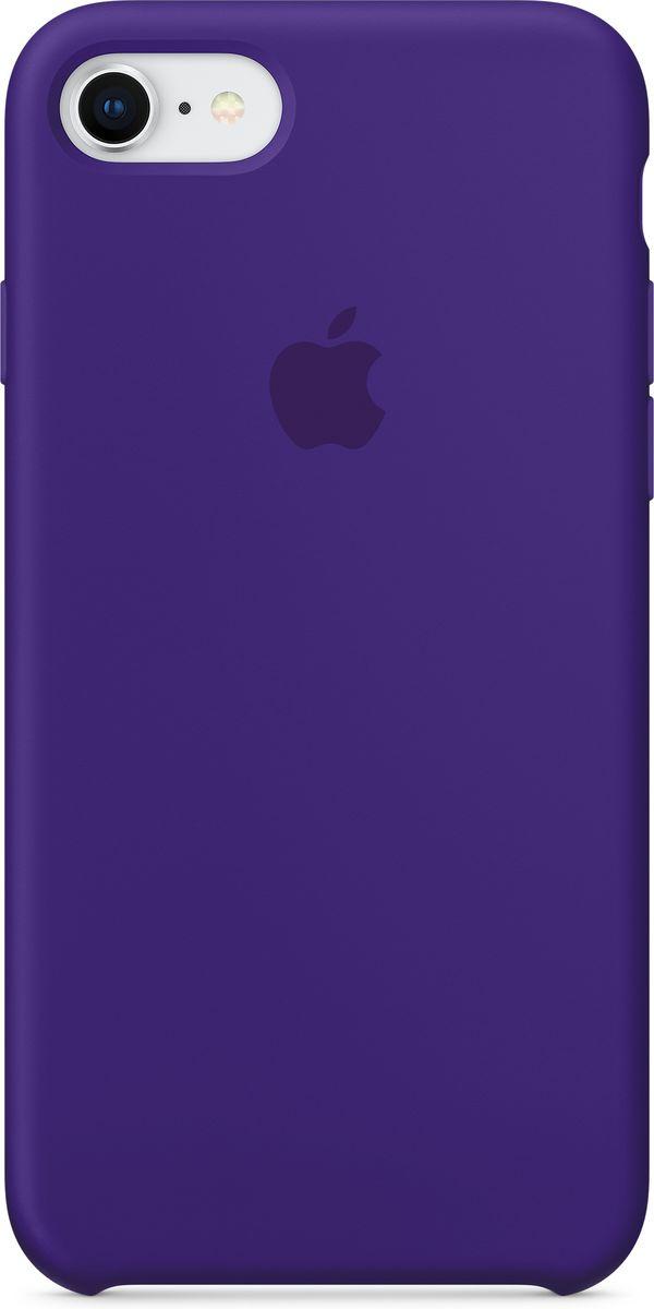Apple Silicone Case чехол для iPhone 7/8, Ultra VioletMQGR2ZM/AСиликоновый чехол от Apple - отличное дополнение к вашему iPhone. Он плотно прилегает к кнопкам громкости и режима сна и точно повторяет контуры телефона, сохраняя его тонкий профиль. Мягкая подкладка из микрофибры защищает корпус iPhone. А внешняя силиконовая поверхность приятна на ощупь.