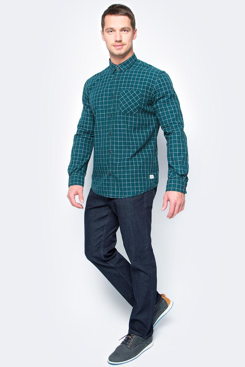 Рубашка мужская Tom Tailor, цвет: зеленый. 2033730.00.10_7509. Размер XL (52)2033730.00.10_7509Стильная мужская рубашка Tom Tailor выполнена из высококачественного материала. Модель с отложным воротником и длинными рукавами застегивается на пуговицы спереди. Манжеты рукавов дополнены пуговицами. Оформлена рубашка нагрудным карманом.