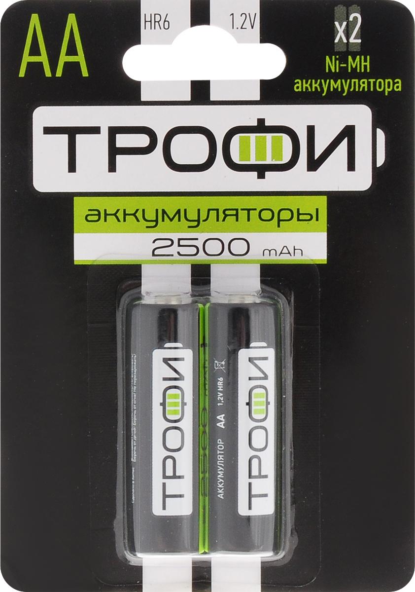 Аккумулятор Трофи, тип AA (HR6-2BL), 2500 мАч, 2 шт5055283020837Аккумуляторы никель-металлогидридные Трофи оптимально подходят для повседневного питания множества современных бытовых приборов. Батарейки созданы для устройств с высоким потреблением энергии. Аккумуляторы Трофи - современное решение для людей, постоянно нуждающихся в надежном источнике питания различных устройств как в своей профессиональной деятельности, так и в период отдыха. Они идеальны для использования даже в самой требовательной бытовой электронике: цифровые фотоаппараты, фотовспышки, плееры, современные игрушки и прочее. Более того, NiMh аккумуляторы отличаются отсутствием эффекта памяти, что исключает необходимость полного разряда перед каждый циклом восполнения емкости. В комплекте - 2 аккумулятора. Размер аккумулятора: 1,4 см х 5 см.