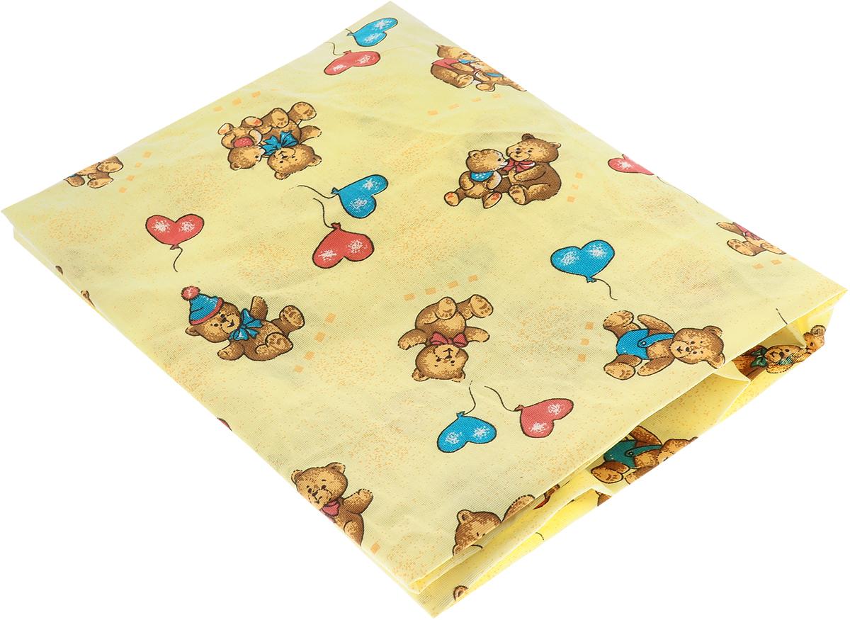 Фея Простыня на резинке Мишки с шариками цвет желтый 60 см х 120 см, Постельное белье  - купить со скидкой