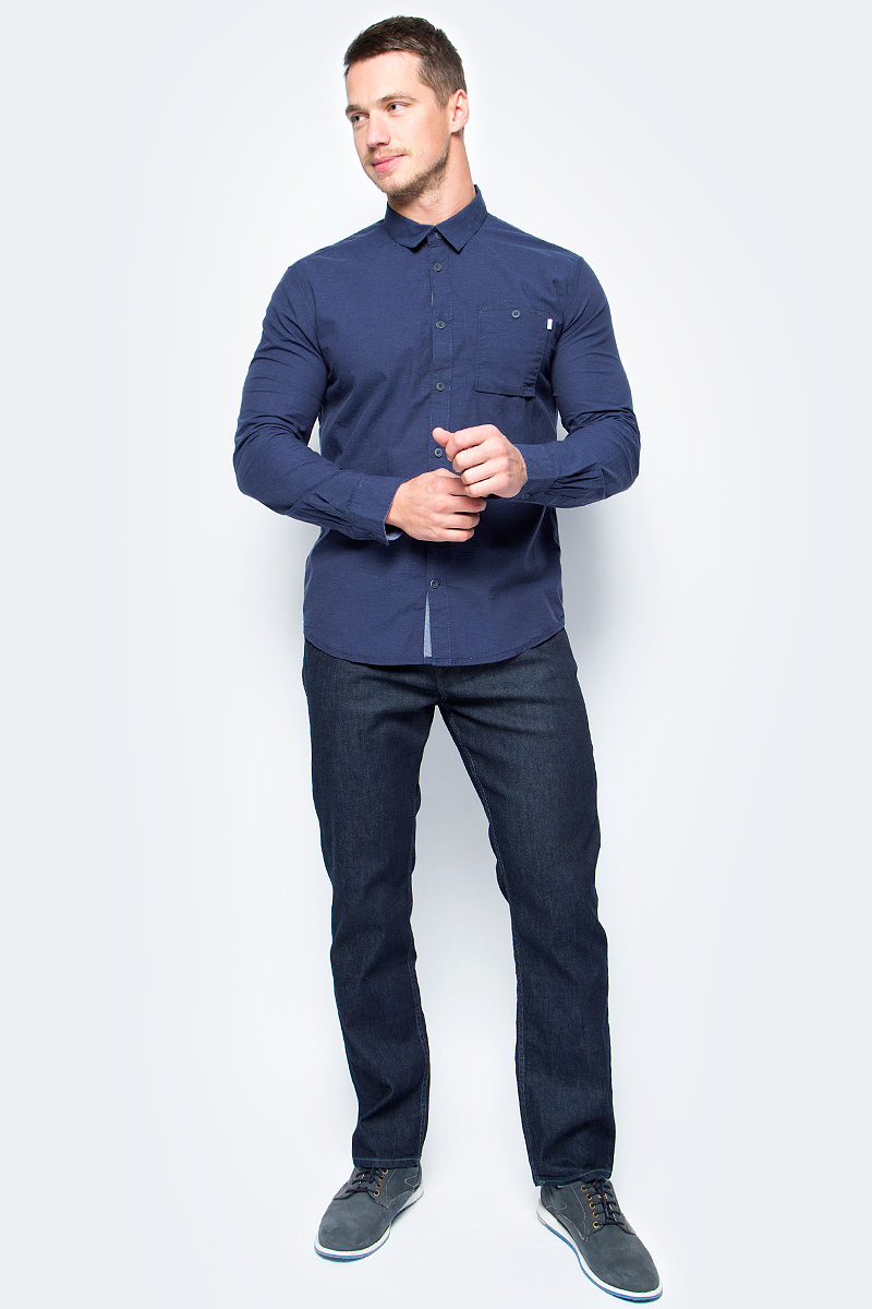 Рубашка мужская Tom Tailor, цвет: синий. 2033732.00.10_6811. Размер XXL (54)2033732.00.10_6811Стильная мужская рубашка Tom Tailor выполнена из высококачественного материала. Модель с отложным воротником и длинными рукавами застегивается на пуговицы спереди. Манжеты рукавов дополнены пуговицами. Оформлена рубашка нагрудным карманом.