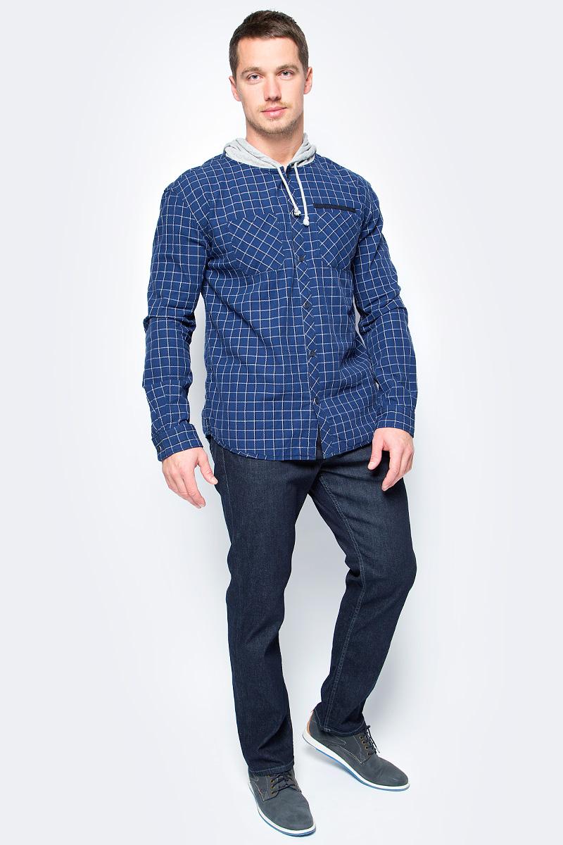 Рубашка мужская Tom Tailor, цвет: синий. 2033730.01.10_6800. Размер L (50)2033730.01.10_6800Стильная мужская рубашка Tom Tailor выполнена из высококачественного материала. Модель с капюшоном и длинными рукавами застегивается на пуговицы спереди. Манжеты рукавов дополнены пуговицами. Оформлена рубашка нагрудными карманами.