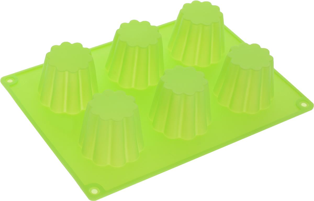 Форма для выпечки Доляна Пудинг, силиконовая, цвет: салатовый, 6 ячеек1540901_салатовыйФорма Доляна Пудинг, выполненная из силикона, будет отличным выбором для всех любителей домашней выпечки. Форма имеет 6 ячеек в виде цветков. Силиконовые формы для выпечки имеют множество преимуществ по сравнению с традиционными металлическими формами и противнями. Нет необходимости смазывать форму маслом. Форма быстро нагревается, равномерно пропекает, не допускает подгорания выпечки с краев или снизу. Вынимать продукты из формы очень легко. Слегка выверните края формы или оттяните в сторону, и ваша выпечка легко выскользнет из формы. Материал устойчив к фруктовым кислотам, не ржавеет, на нем не образуются пятна. Форма может быть использована в духовках и микроволновых печах (выдерживает температуру от -40°С до +230°С), также ее можно помещать в морозильную камеру и холодильник. Можно мыть в посудомоечной машине.Диаметр ячейки: 4,5 см.Размер формы: 20 х 14 х 5 см.