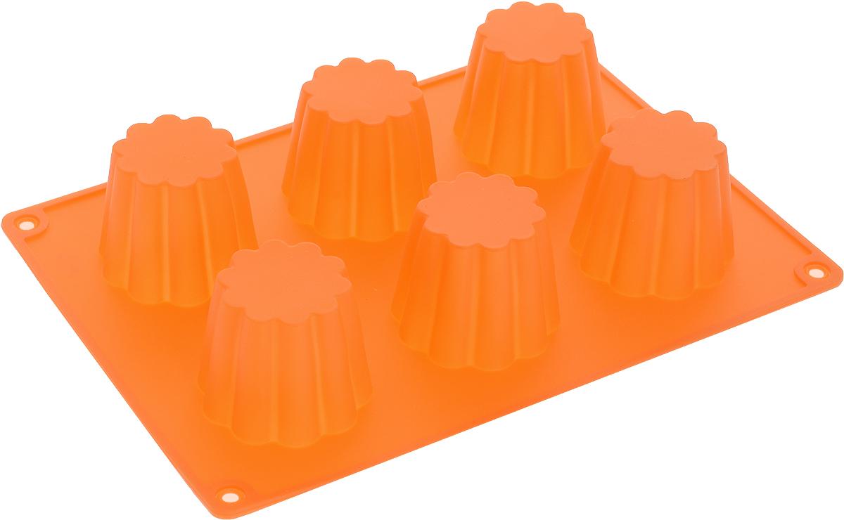 Форма для выпечки Доляна Пудинг, силиконовая, цвет: оранжевый, 6 ячеек1540901_оранжевыйФорма Доляна Пудинг, выполненная из силикона, будет отличным выбором для всех любителей домашней выпечки. Форма имеет 6 ячеек в виде цветков. Силиконовые формы для выпечки имеют множество преимуществ по сравнению с традиционными металлическими формами и противнями. Нет необходимости смазывать форму маслом. Форма быстро нагревается, равномерно пропекает, не допускает подгорания выпечки с краев или снизу. Вынимать продукты из формы очень легко. Слегка выверните края формы или оттяните в сторону, и ваша выпечка легко выскользнет из формы. Материал устойчив к фруктовым кислотам, не ржавеет, на нем не образуются пятна. Форма может быть использована в духовках и микроволновых печах (выдерживает температуру от -40°С до +230°С), также ее можно помещать в морозильную камеру и холодильник. Можно мыть в посудомоечной машине.Диаметр ячейки: 4,5 см.Размер формы: 20 х 14 х 5 см.