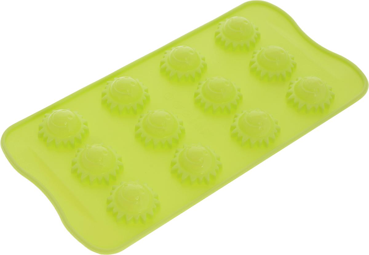 Форма для льда и шоколада Доляна Солнышко, 8 ячеек, цвет: салатовый, 21 х 10 х 1,5 см1540895_салатовыйФигурная форма для льда и шоколада Доляна Солнышко выполнена из пищевого силикона, который не впитывает запахов, отличается прочностью и долговечностью. Материал полностью безопасен для продуктов питания. Кроме того, силикон выдерживает температуру от -40°С до +250°С. Благодаря гибкости материала готовый продукт легко вынимается и не крошатся. Лед получается идеальной формы. С силиконовыми формами для льда легко фантазировать и придумывать новые рецепты. В формах можно заморозить сок или приготовить мини порции мороженого, желе, шоколада или другого десерта. Особенно эффектно выглядят льдинки с замороженными внутри ягодами или дольками фруктов. Заморозив настой из трав, можно использовать его в косметологических целях.Форма легко отмывается, в том числе в посудомоечной машине. Можно использовать в духовом шкафу и морозильной камере.Общий размер формы: 21 х 10 х 1,5 см.Диаметр ячейки: 2 см.