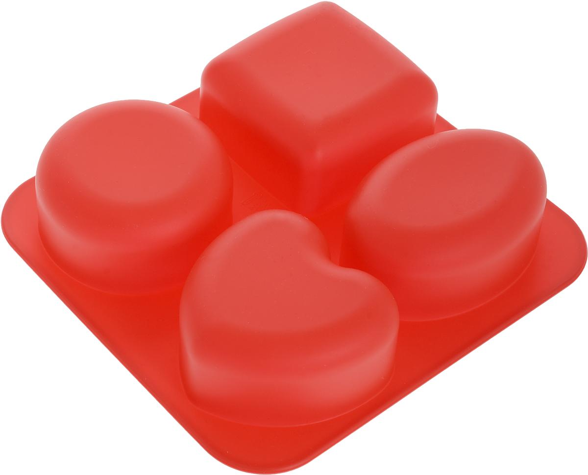 Форма для выпечки Доляна Нежность, силиконовая, цвет: красный, 4 ячейки123175_красныйФорма Доляна Нежность, выполненная из силикона, будет отличным выбором для всех любителей домашней выпечки. Форма имеет 4 ячейки в виде квадрата, овала, круга и сердца.Силиконовые формы для выпечки имеют множество преимуществ по сравнению с традиционными металлическими формами и противнями. Нет необходимости смазывать форму маслом. Форма быстро нагревается, равномерно пропекает, не допускает подгорания выпечки с краев или снизу. Вынимать продукты из формы очень легко. Слегка выверните края формы или оттяните в сторону, и ваша выпечка легко выскользнет из формы. Материал устойчив к фруктовым кислотам, не ржавеет, на нем не образуются пятна. Форма может быть использована в духовках и микроволновых печах (выдерживает температуру от -40°С до +230°С), также ее можно помещать в морозильную камеру и холодильник. Можно мыть в посудомоечной машине. Размер формы: 17,5 х 16,5 х 3,5 см. Как выбрать форму для выпечки – статья на OZON Гид.