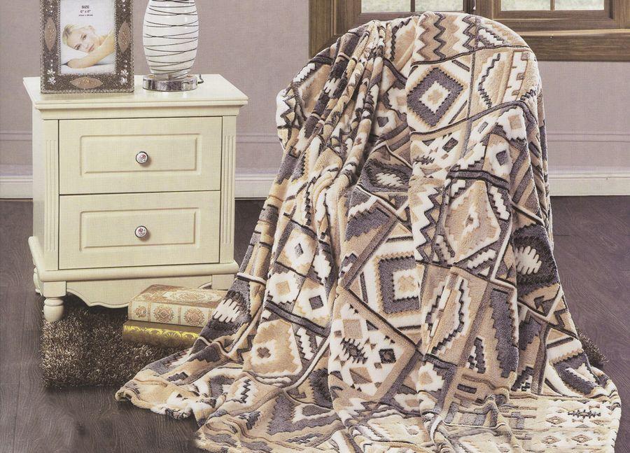 Плед ТД Текстиль Absolute, цвет: коричневый, 200 х 220 см. 8957989579