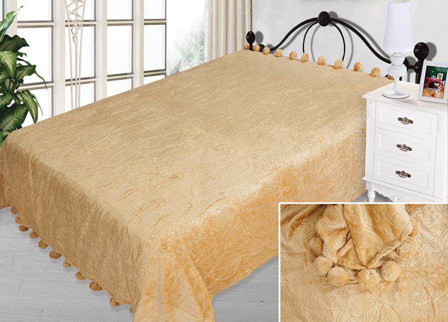 Плед ТД Текстиль Absolute, с бубонами, цвет: песочный, 200 х 220 см90339