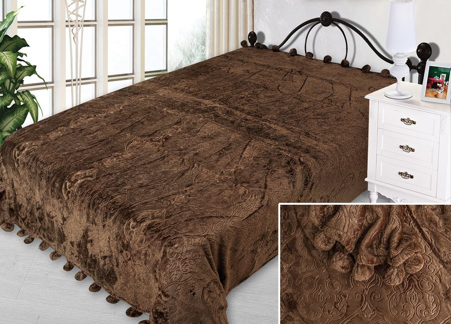 Плед ТД Текстиль Absolute, с бубонами, цвет: коричневый, 200 х 220 см90340