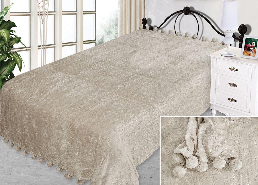 Плед ТД Текстиль Absolute, с бубонами, цвет: серый, 200 х 220 см90341