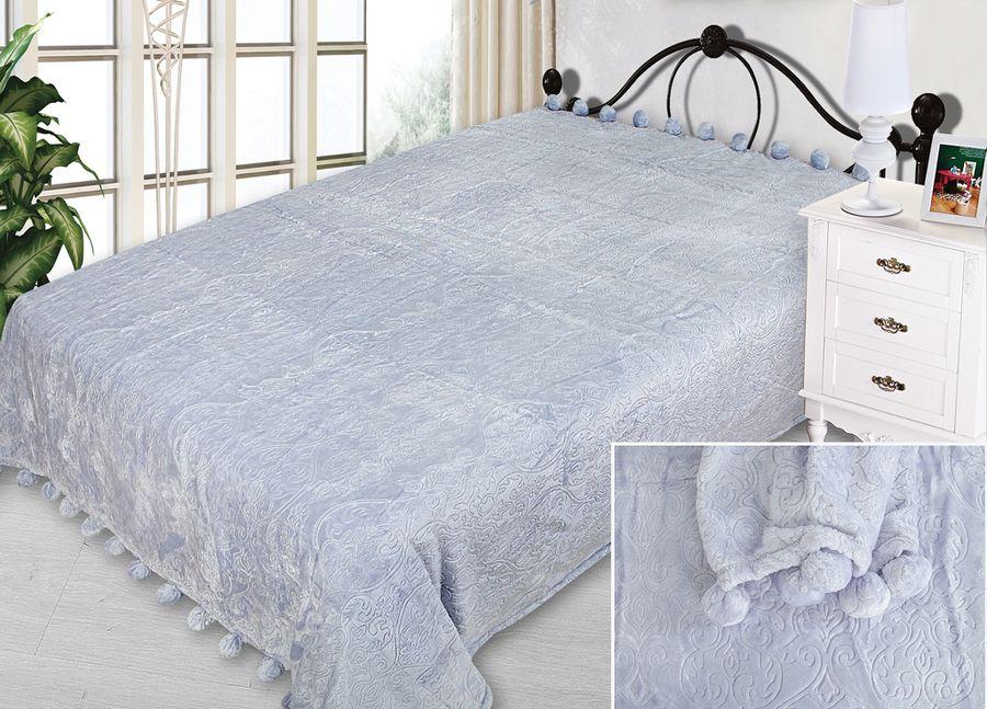 Плед ТД Текстиль Absolute, с бубонами, цвет: голубой, 200 х 220 см90343