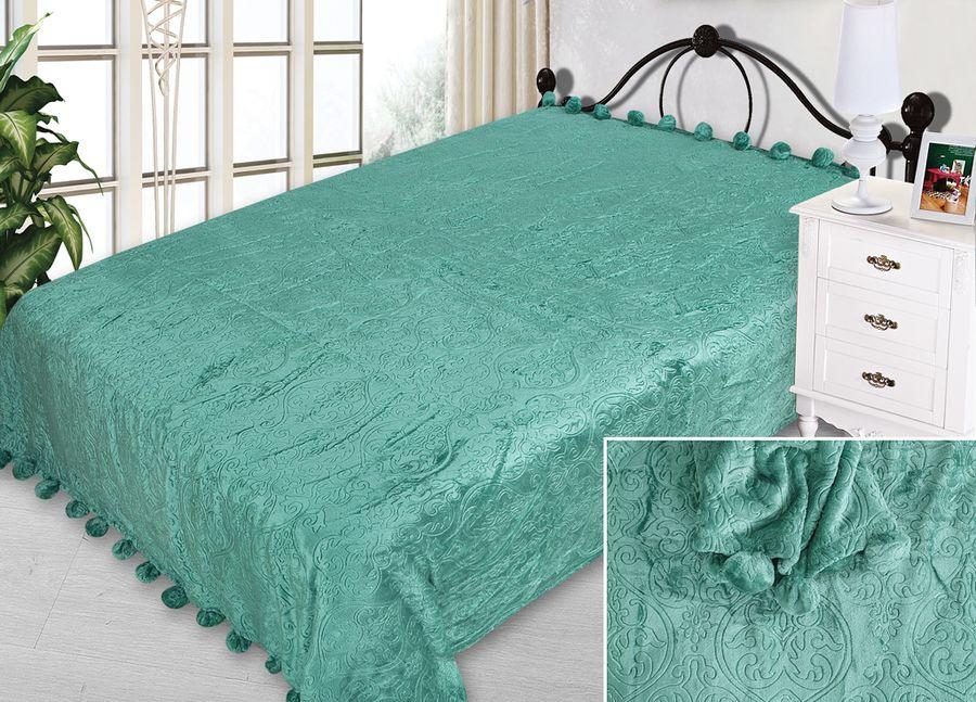 Плед ТД Текстиль Absolute, с бубонами, цвет: изумрудный, 200 х 220 см90344