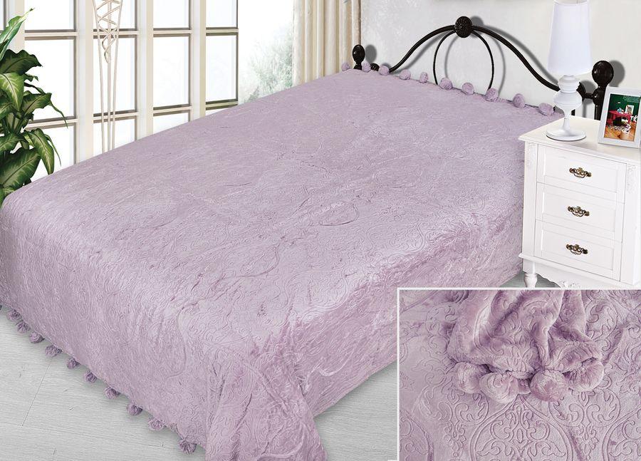 Плед ТД Текстиль Absolute, с бубонами, цвет: сиреневый, 200 х 220 см90345