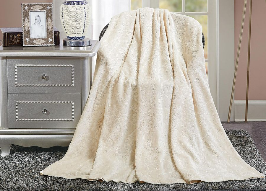 Плед ТД Текстиль Absolute, цвет: молочный, 180 х 220 см. 9039190391