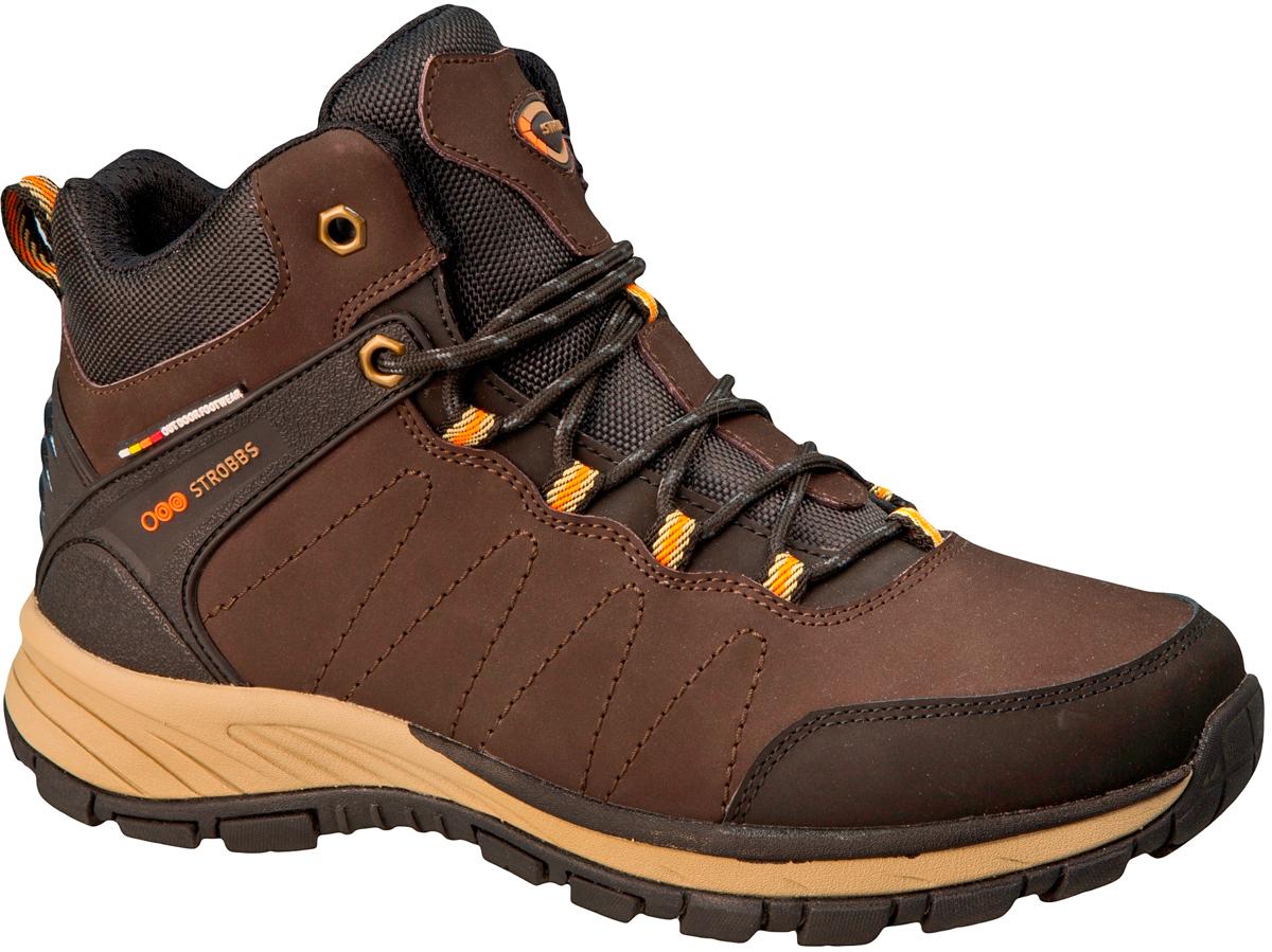 Ботинки мужские Strobbs, цвет: коричневый. C9098-17. Размер 45C9098-17Стильные ботинки от Strobbs придутся вам по душе. Модель, изготовленная из натурального нубука, оформлена фирменной нашивкой на язычке и прострочкой. Подкладка и стелька из натурального меха не дадут ногам замерзнуть. Шнуровка надежно фиксирует модель на ноге. Ярлычок на заднике облегчает надевание. Подошва с рифлением гарантирует идеальное сцепление на любой поверхности. Стильные и удобные ботинки - необходимая вещь в вашем гардеробе.